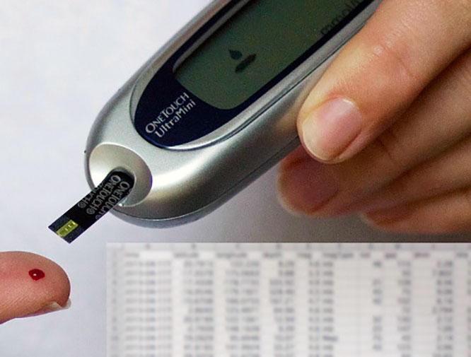 Замер сахара в крови глюкометром