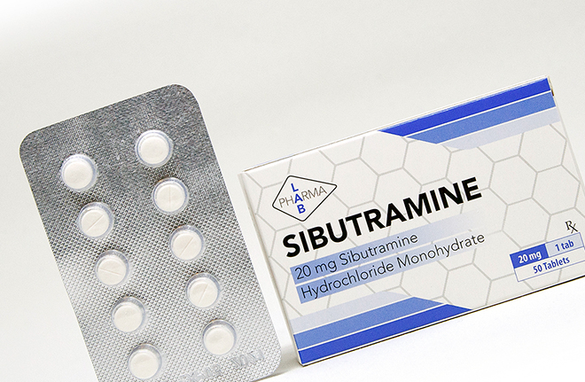 упаковка сибутрамина и блистер с таблетками